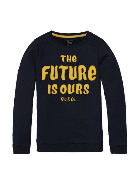 The future is ours Sweater Eager navy Katoen