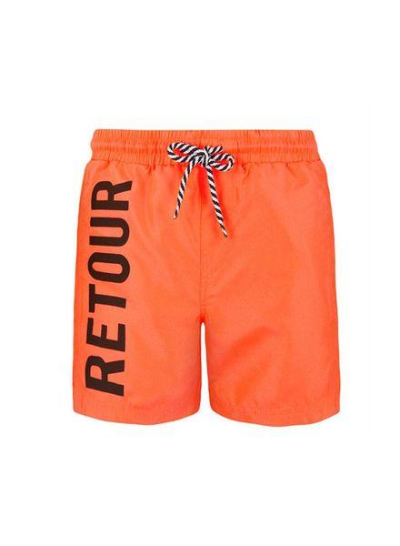 Retour Jeans Swimshort Kane Neon Oranje Katoen Elastan