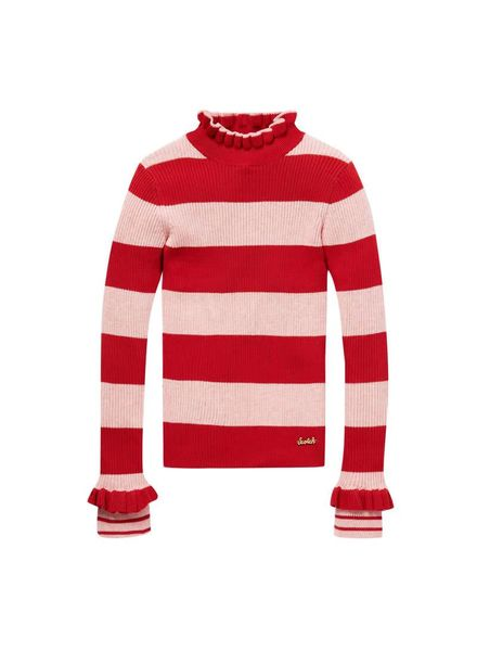 Scotch Rebelle slim fit pull turtle neck rood/roze 144460
