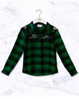 Ai&Ko Blouse Chante Check Vis Emerald Green 622 J