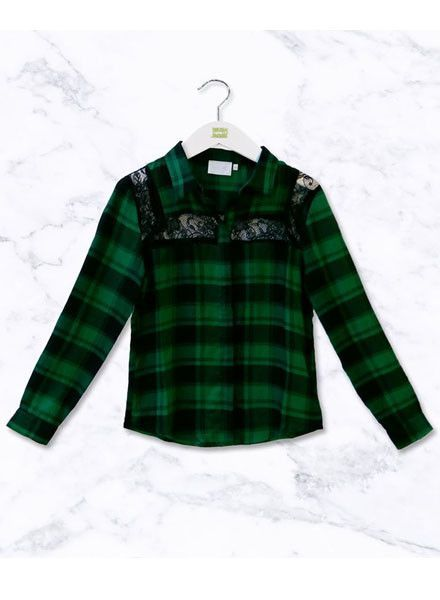 Ai&Ko Blouse Chante Check Vis Emerald Green 622 J