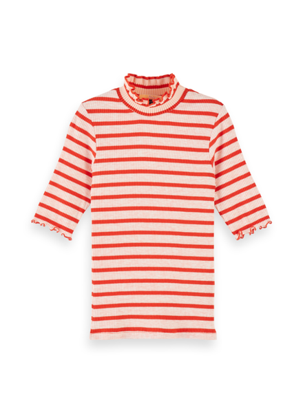 Scotch & Soda High neck tee in special rib quality