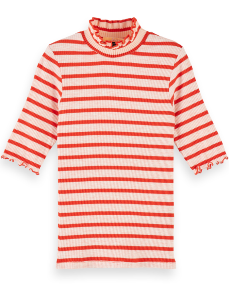 Scotch Rebelle Scotch Rebelle High neck tee in special rib quality