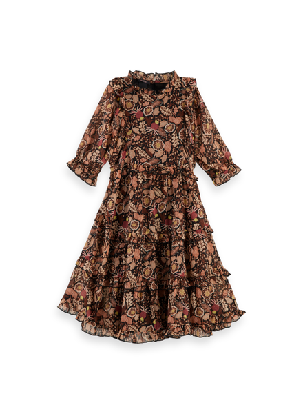 Scotch & Soda Silky feel longer dress ruffles