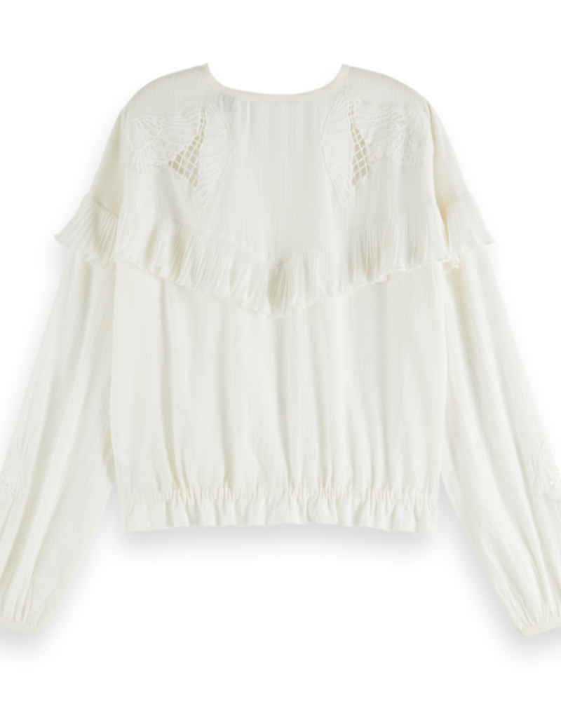 Scotch Rebelle Loose shirt lace and sport details 157335 Off White