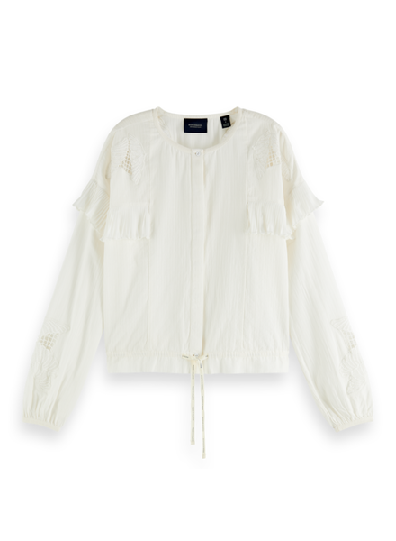 Scotch & Soda Loose shirt lace and sport details Off White