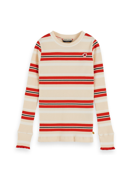 Scotch & Soda Striped l/s tee ruffle Multi