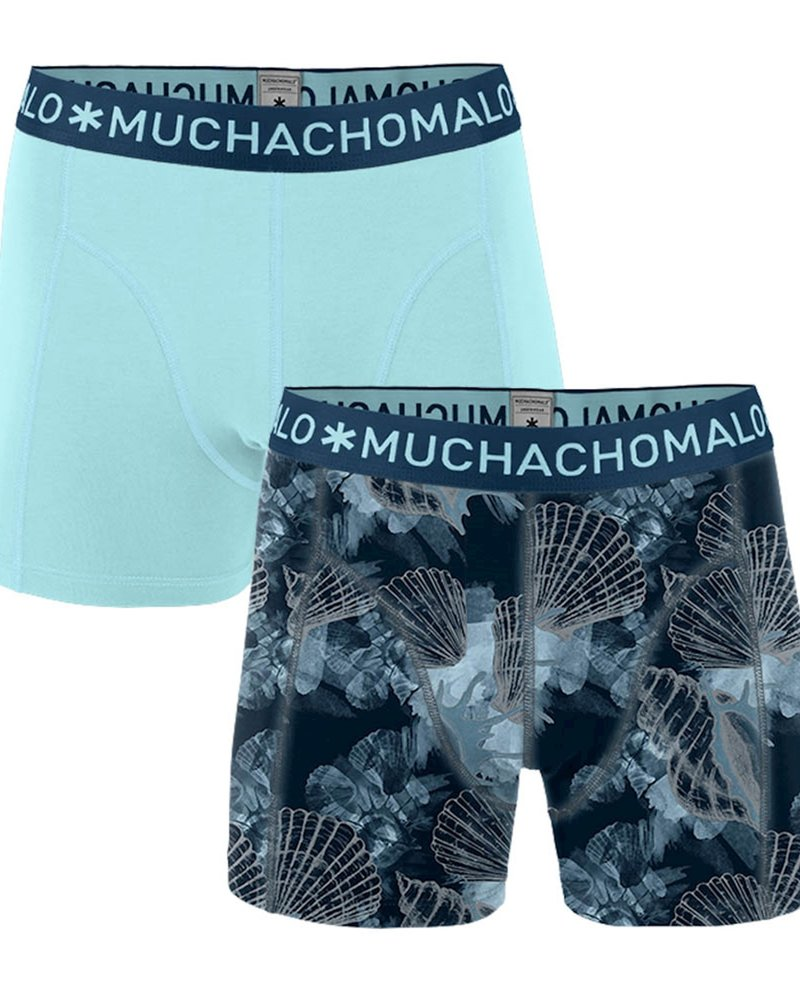 Muchachomalo Muchachomalo Shorts 2-pack Printed Coral  blauw