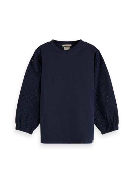 Scotch & Soda Jersey top volum. broidery anglaise