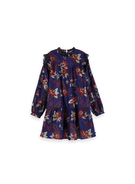 Scotch & Soda Floral allover printed ruffle dress blauw