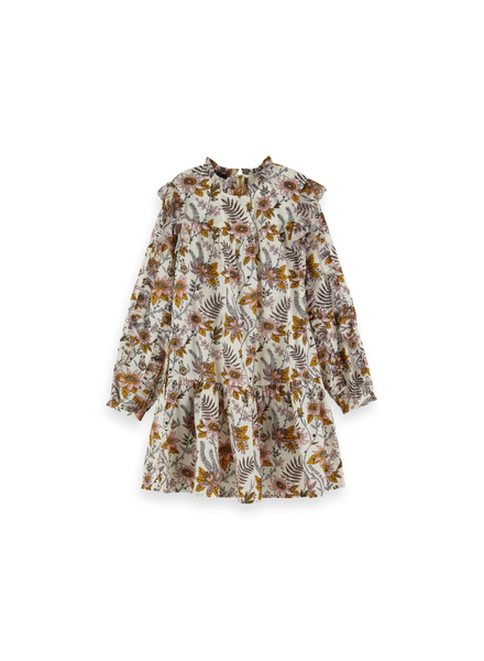 Scotch & Soda Floral allover printed ruffle dress