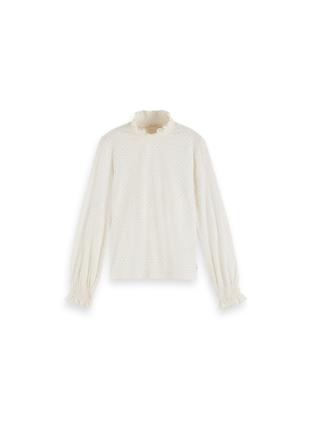 Scotch & Soda Longsleeve T smocked neck cuff stip