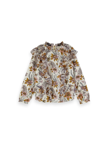 Scotch Rebelle Floral allover printed top  ruffle details