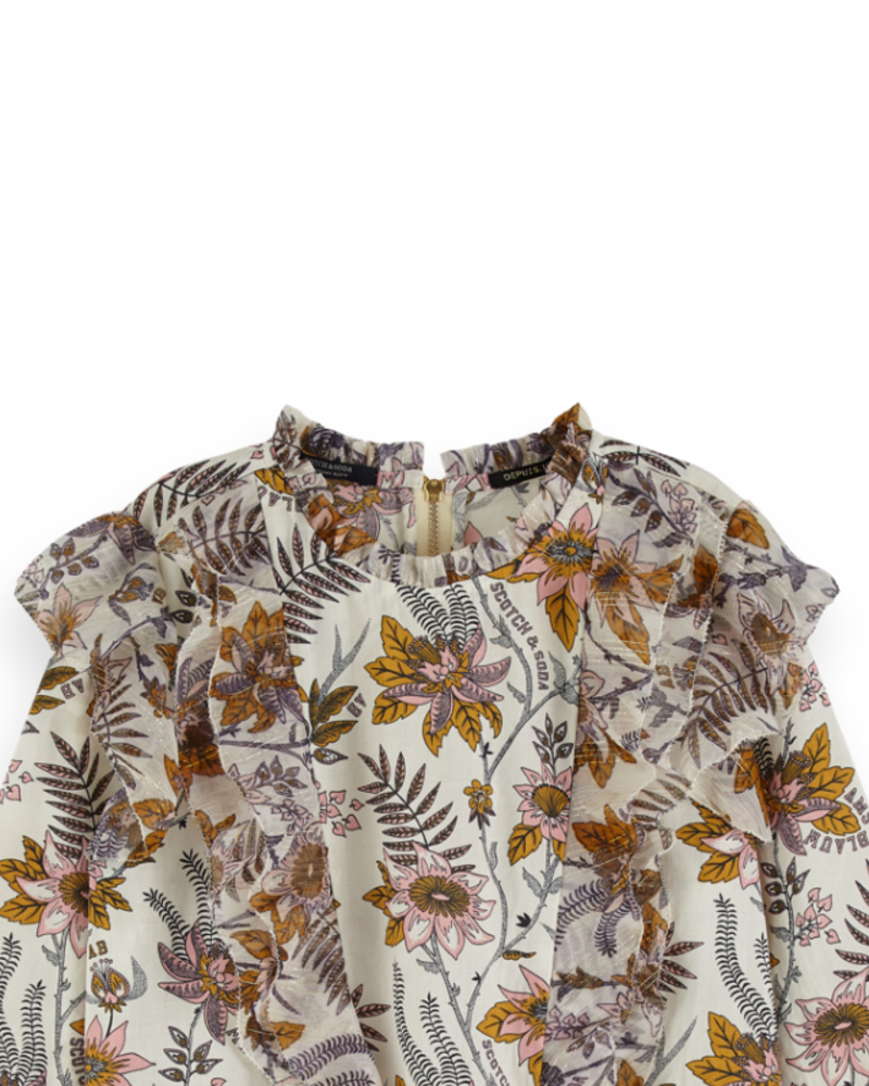 Scotch Rebelle Scotch Rebelle Floral allover printed top ruffle details