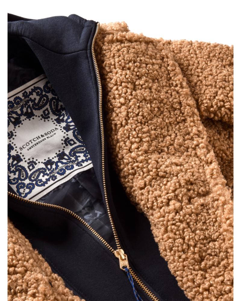 Scotch & Soda Scotch Rebelle Long length teddy jacket sweat hoody