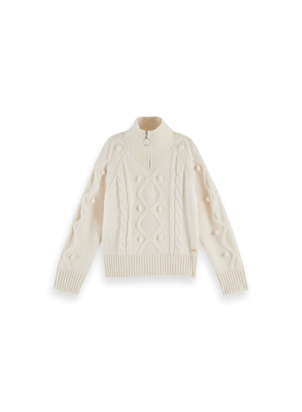 Scotch Rebelle Half-zip cable knit pullover