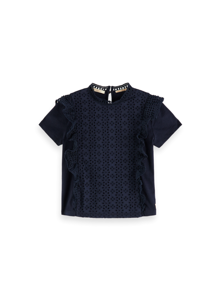 Scotch & Soda Shorts. jersey broderie anglaise mixed top