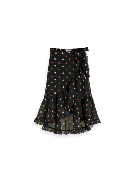 Scotch Rebelle Maxi length all-over printed wrap skirt