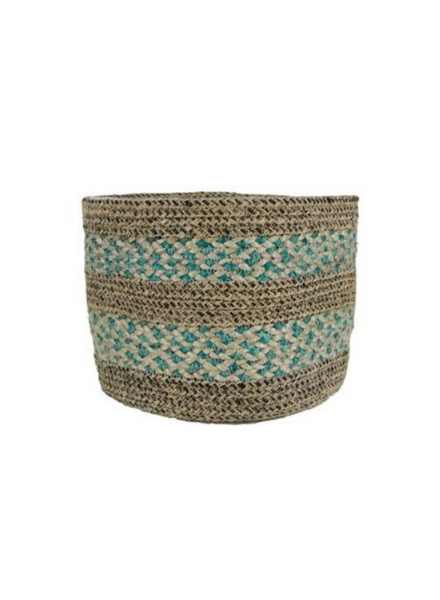 Plantenhanger papette basket jute aqua/brown