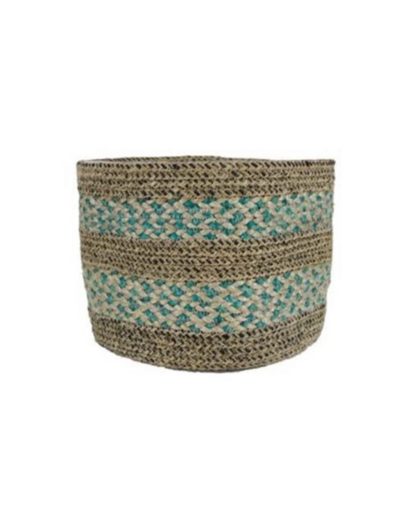 Gina Da Plantenhanger papette basket jute aqua/brown