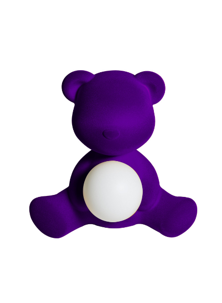 Qeeboo Qeeboo Teddy Girl Velvet LED lamp - Violet