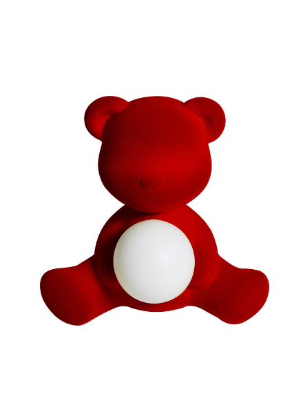 Qeeboo Qeeboo Teddy Girl Velvet LED lamp - Red