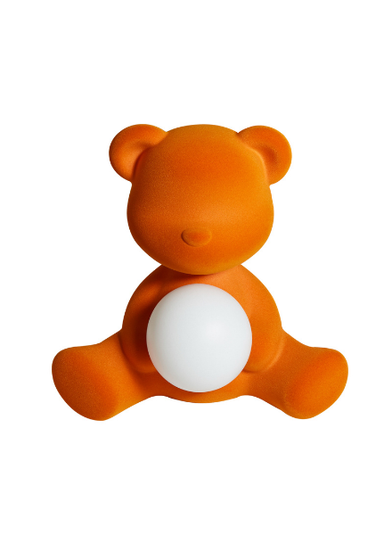 Qeeboo Qeeboo Teddy Girl Velvet LED lamp - Orange