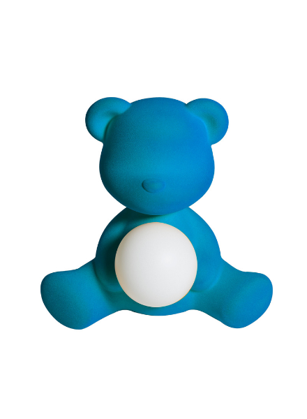 Qeeboo Qeeboo Teddy Girl Velvet LED lamp - Light Blue