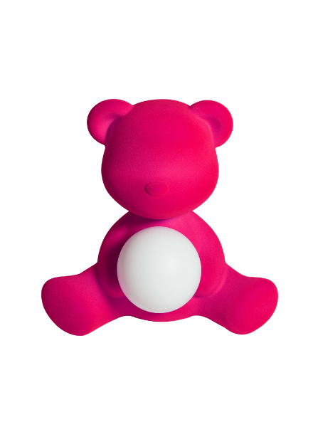 Qeeboo Qeeboo Teddy Girl Velvet LED lamp - Fuxia