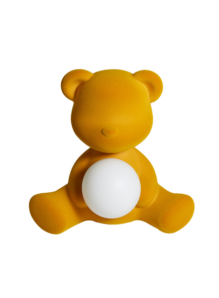 Qeeboo Qeeboo Teddy Girl Velvet LED lamp - Dark Gold
