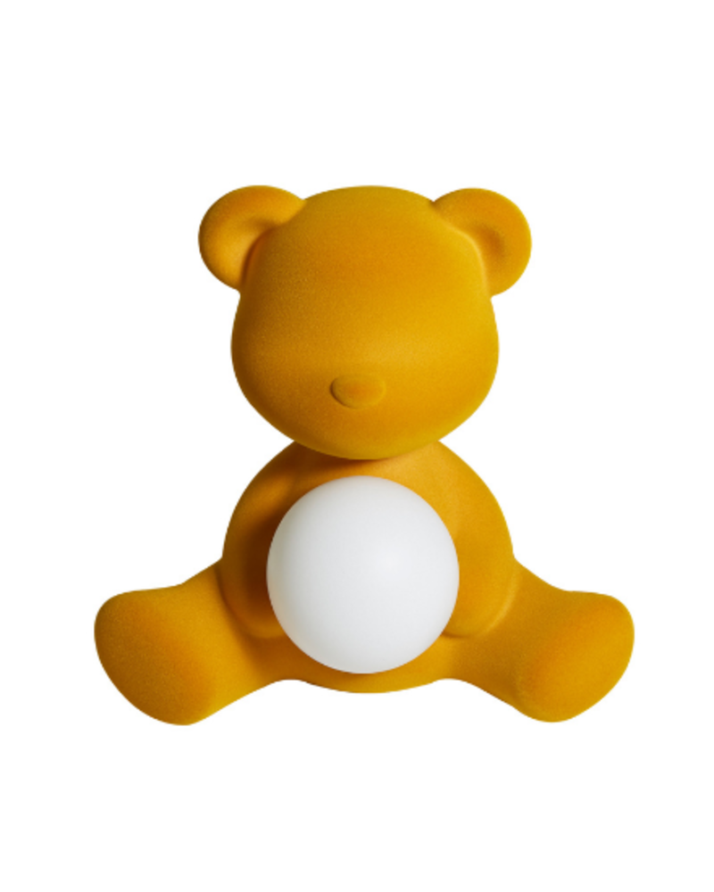 Qeeboo Qeeboo Teddy Girl Velvet LED lamp - Dark Gold