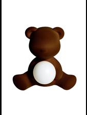 Qeeboo Qeeboo Teddy Girl Velvet LED lamp - Dark Brown