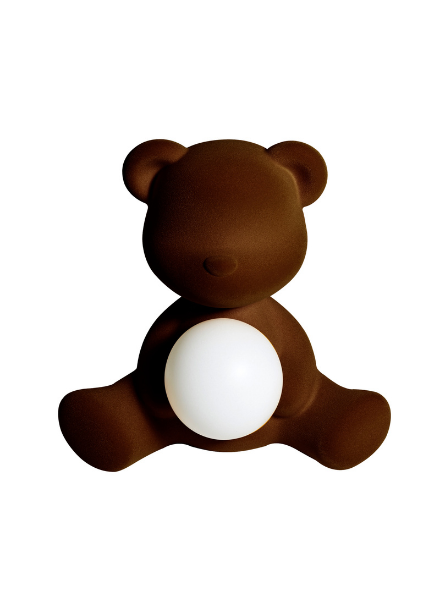 Qeeboo Qeeboo Teddy Girl Velvet LED lamp - Dark Brown