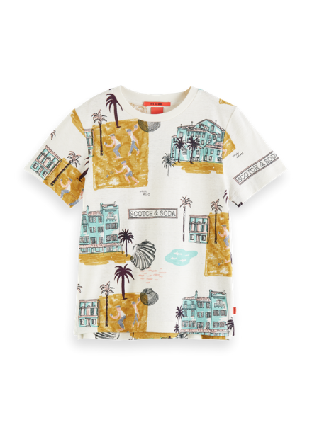 Scotch & Soda All-over printed tee in organic cotton-hemp quality