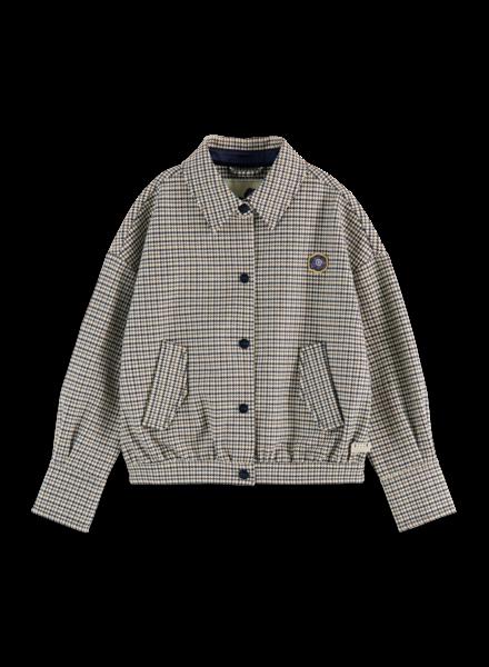 Scotch & Soda Tailored heavy jersey boxy fit jacket in houndstooth pattern