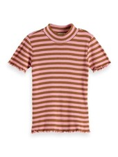 Scotch & Soda Fitted short sleeve high neck tee in yarn dyed stripe