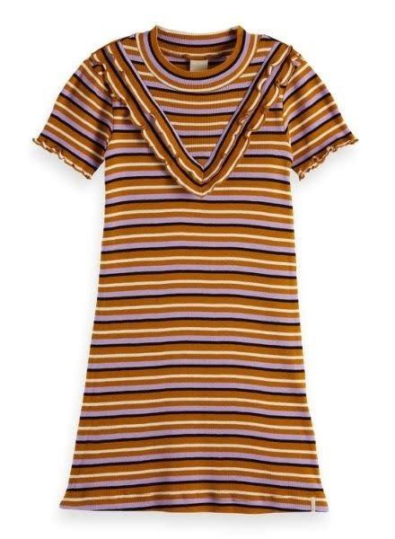 Scotch & Soda Rib jersey dress with ruffle yoke