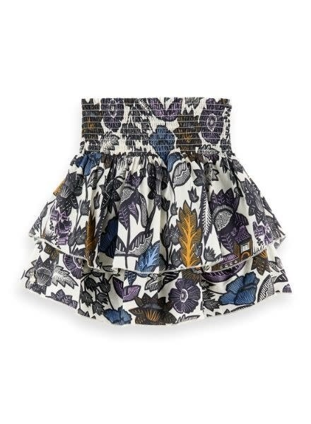 Scotch & Soda Short skirt with gathers in all-over print