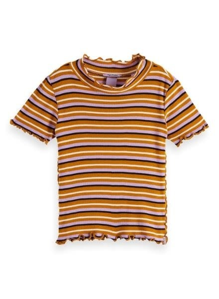 Scotch & Soda Fitted short sleeve in yarn dyed stripes with subtle ruffles