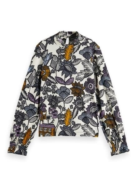 Scotch & Soda Fitted long sleeve jersey top with allover print