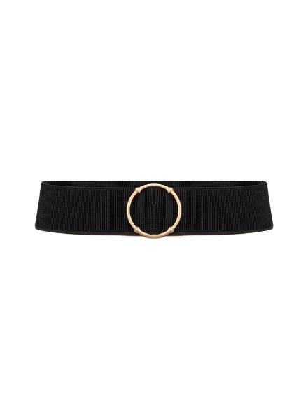 Frankie & Liberty Belt Black Gold Round Buckle