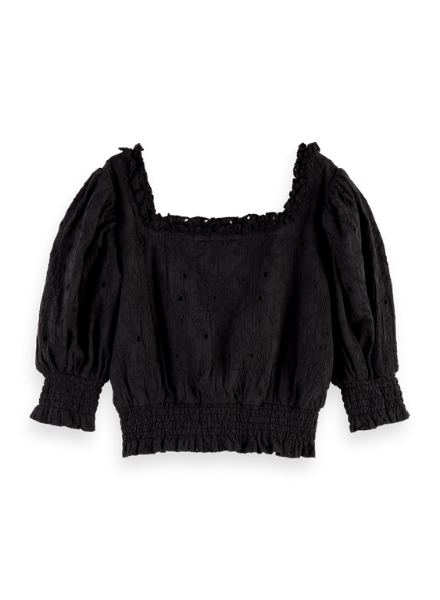 Scotch & Soda Cropped brodery anglaise top with puffy sleeves