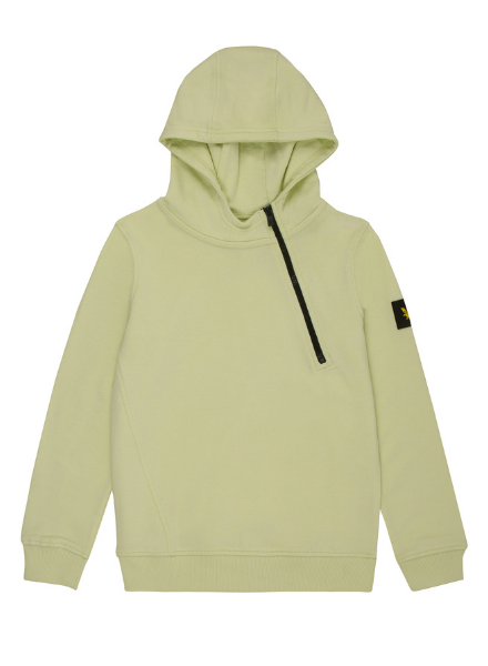 Lyle en Scott Angle Zip LB Hoodie Lime Cream