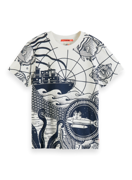Scotch & Soda Short sleeve tee with placed print in organic cotton quality