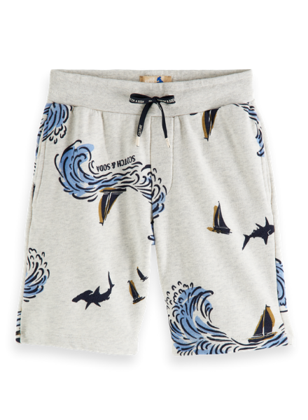 Scotch & Soda All-over printed sweat shorts in organic cotton