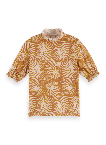 Scotch & Soda Fitted short sleeve tee with high neck in all-over print
