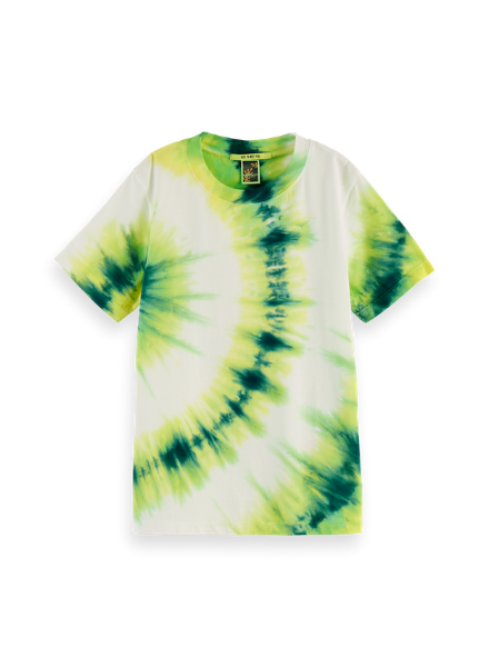 Scotch & Soda Short sleeve tee with placed tie dye in organic cotton