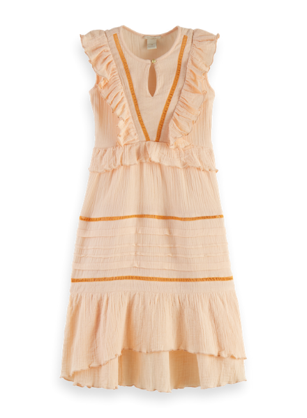 Scotch & Soda Sleeveless maxi dress with ruffle layers and ladder tapes