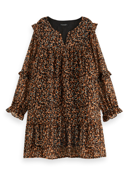 Scotch & Soda Wider-fit midi length all-over printed dress
