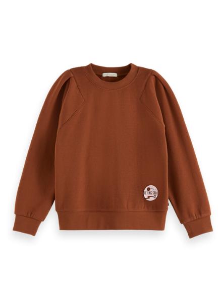 Scotch & Soda Crew neck balloon sleeve sweatshirt, contains Organic Cotton